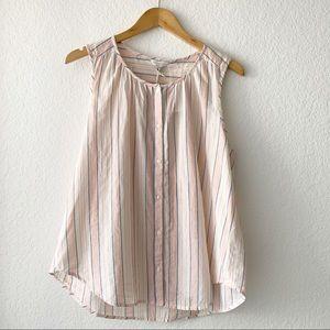 LUCKY BRAND Striped Sleeveless Button Up Shirt